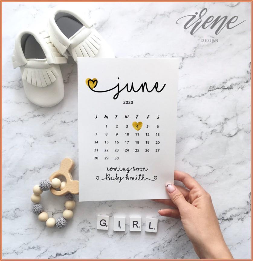 Free Printable Pregnancy Announcement Calendar September 2021