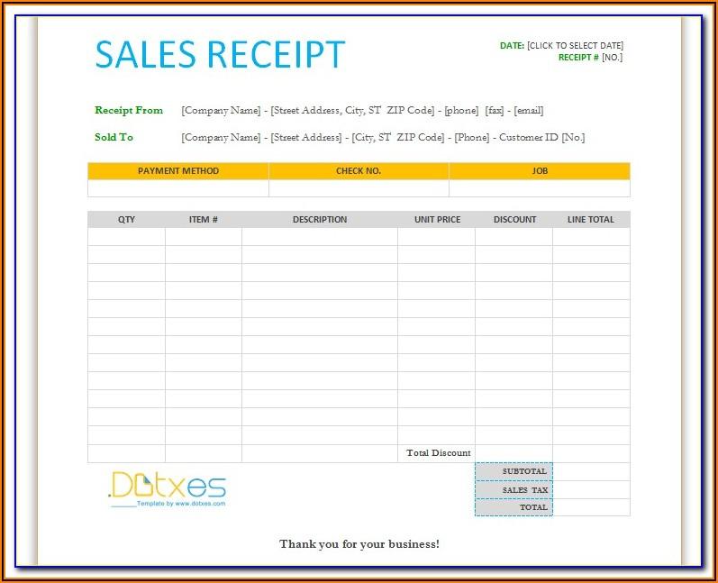 Free Sales Receipt Template Uk