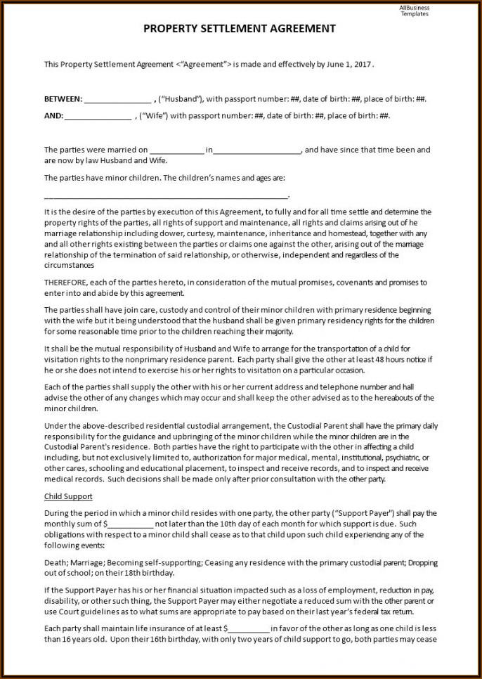 Free Template For Divorce Settlement Agreement