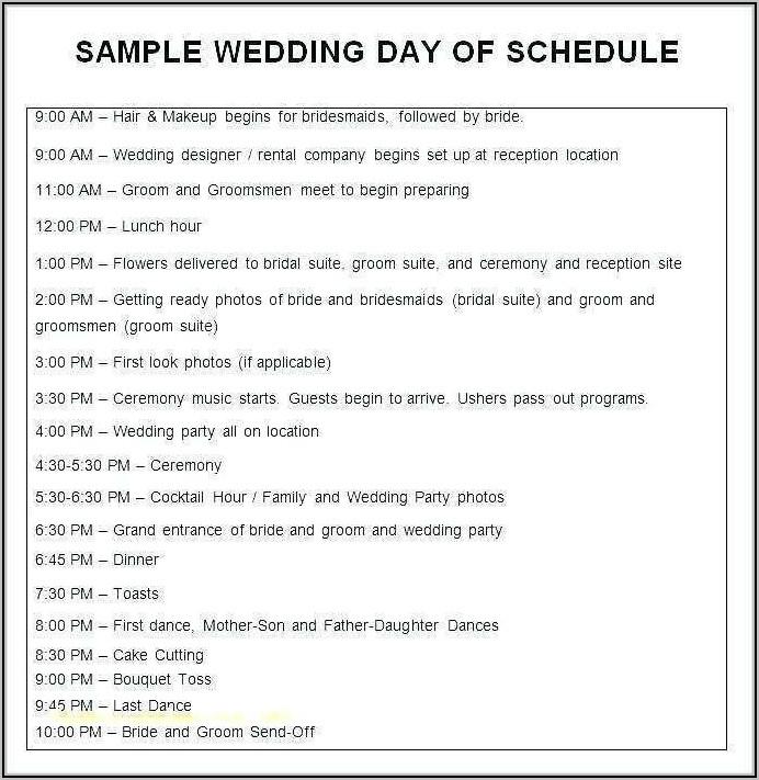 Free Wedding Day Agenda Template