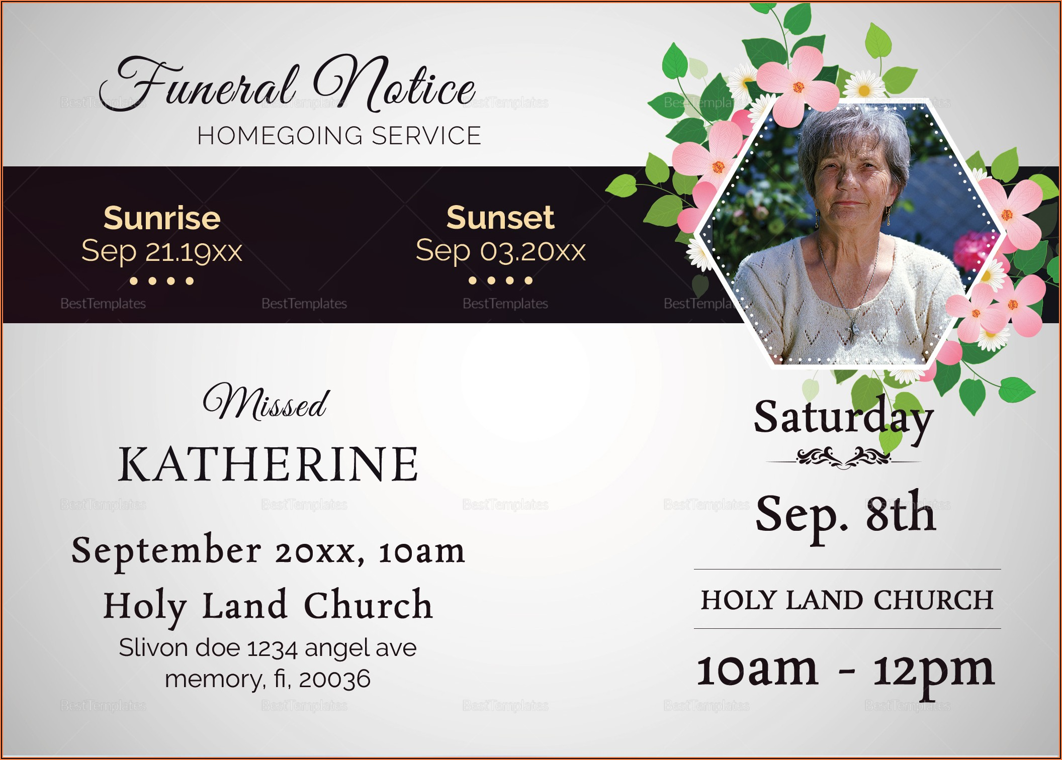 Funeral Notice Template Word