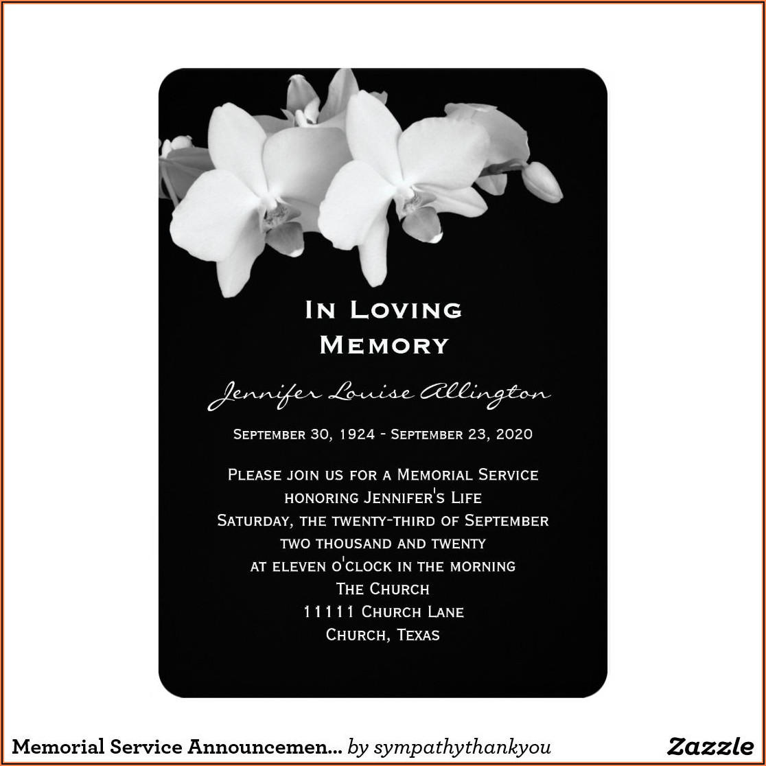 Funeral Services Announcement Template