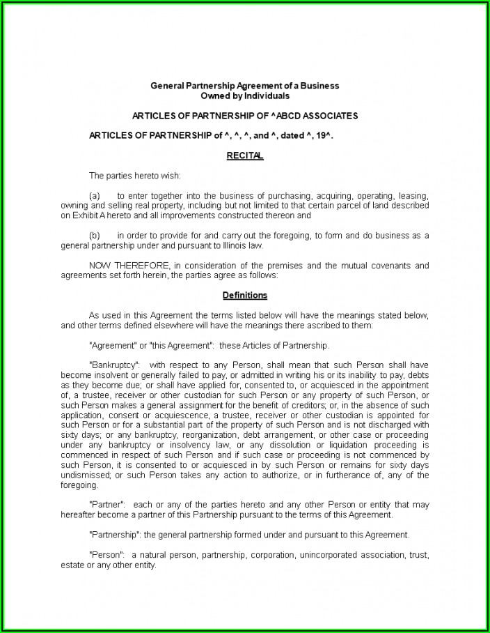 General Partnership Agreement Template Canada
