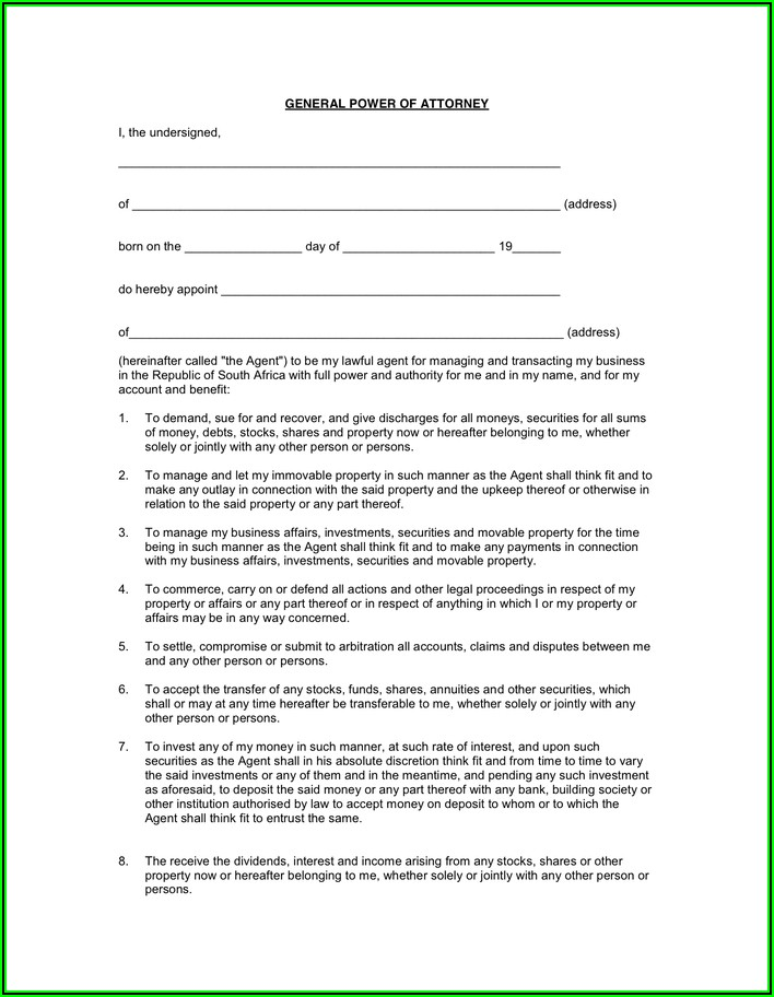 General Power Of Attorney Form South Africa