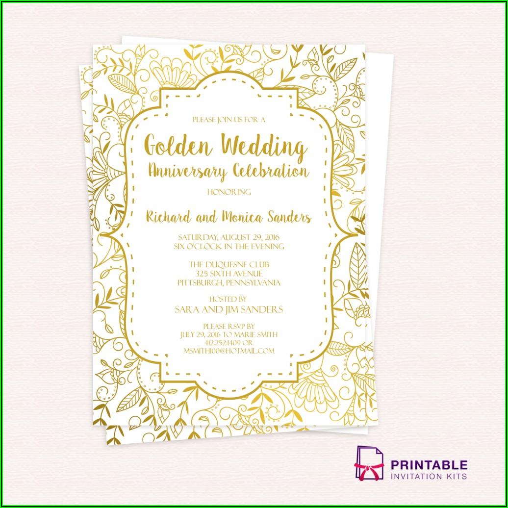 Gold 50th Wedding Anniversary Invitations Templates Free Download