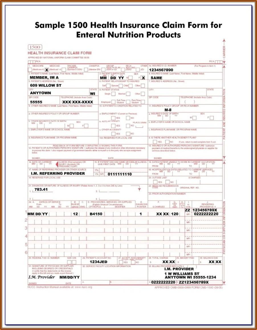 Hcfa 1500 Blank Form