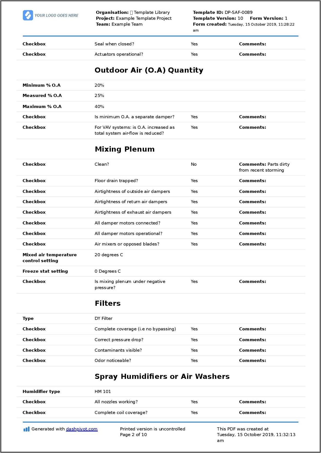 Hvac Maintenance Checklist Form Pdf