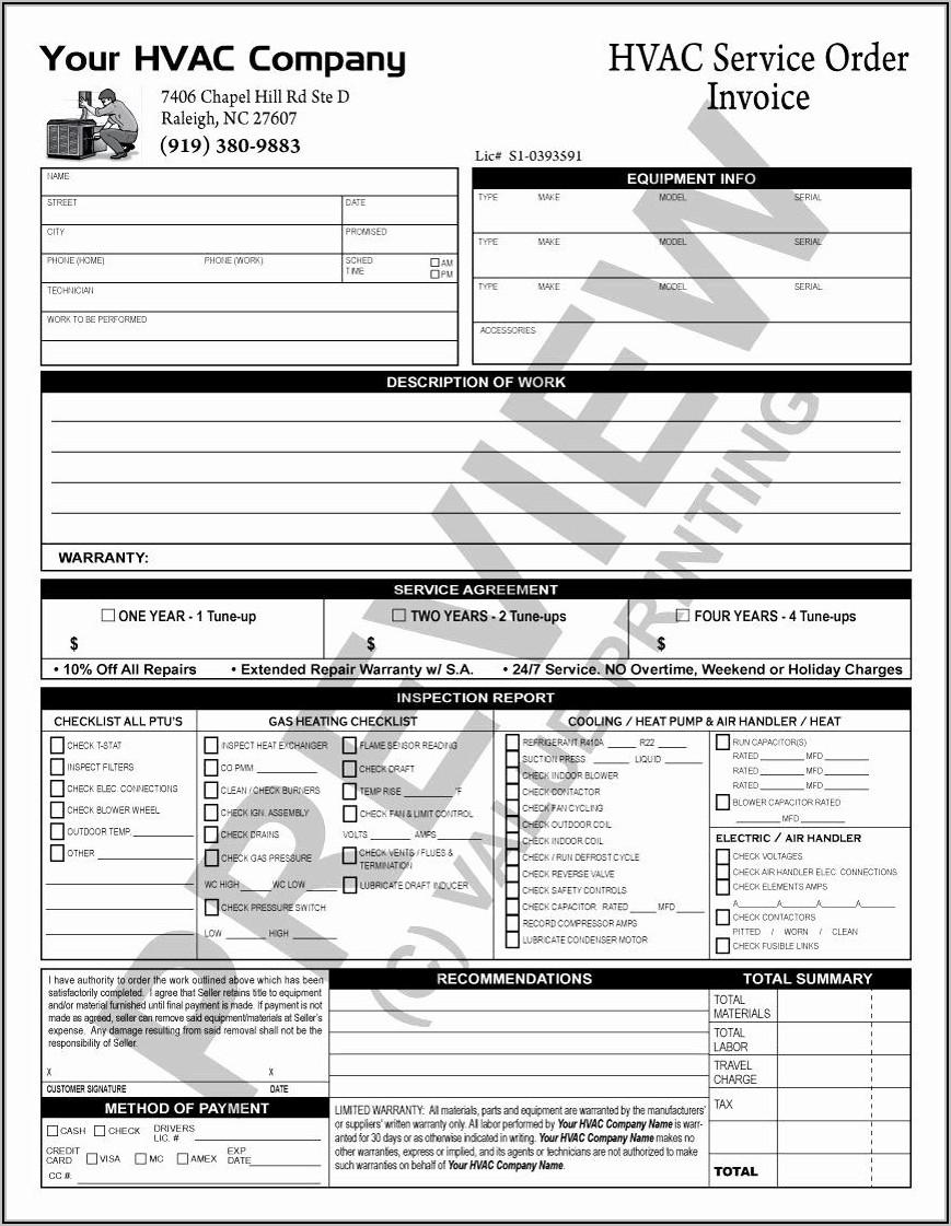 Hvac Service Checklist Template
