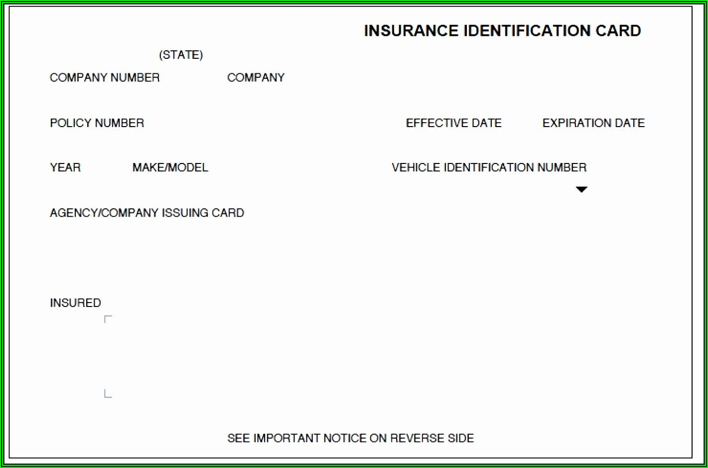 Insurance Card Template Free