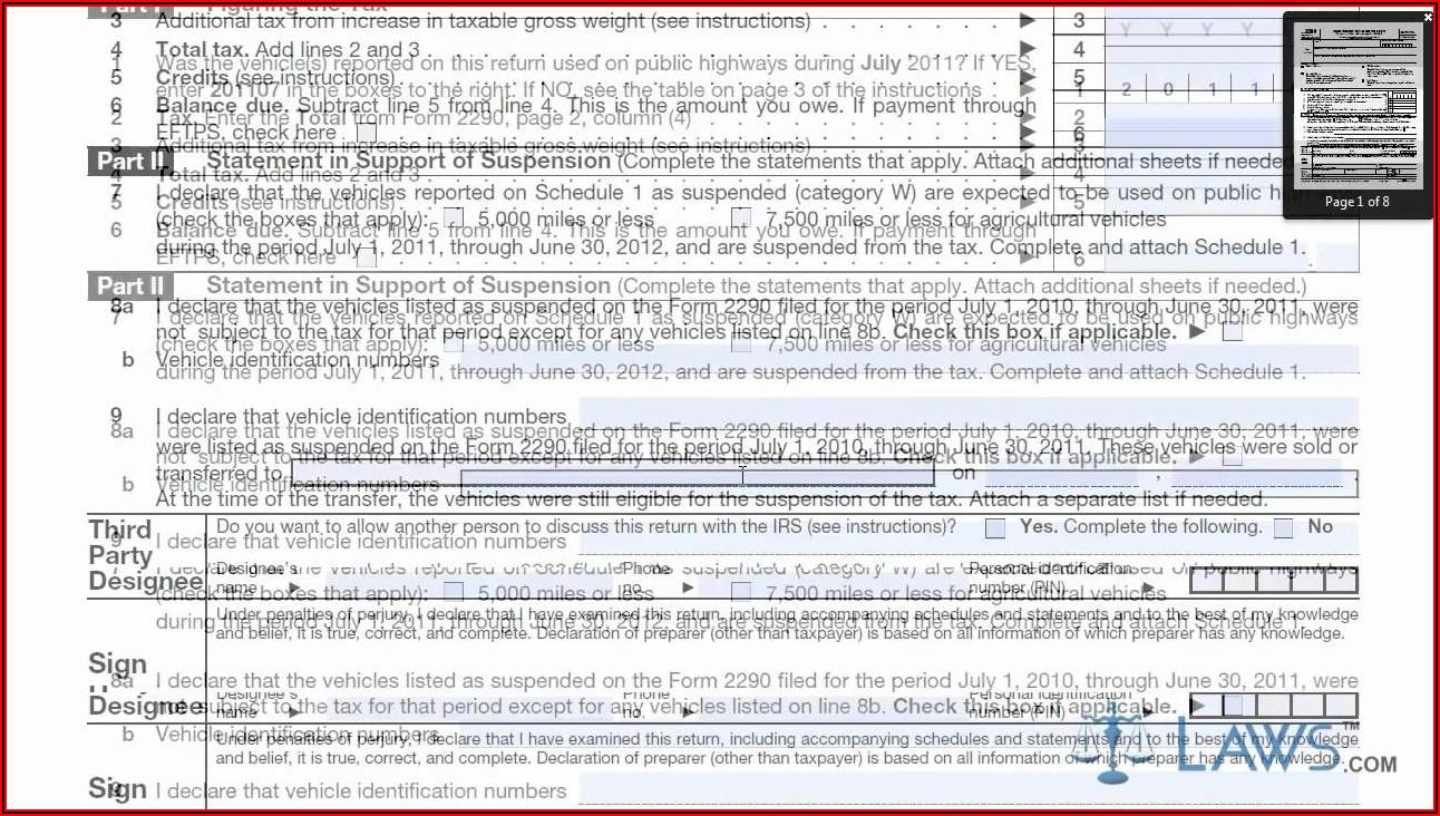 Internal Revenue Service Form 2290