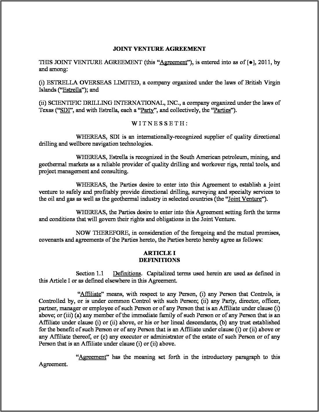 International Joint Venture Agreement Template Free