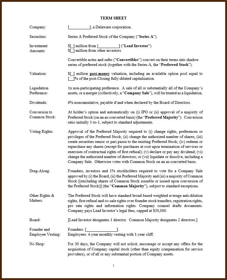 Investment Term Sheet Template Uk