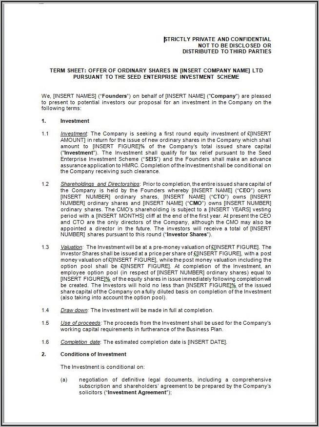 Investor Agreement Template Uk