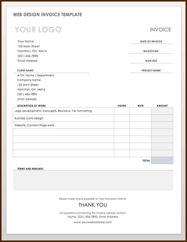 Invoice Sample Template Word
