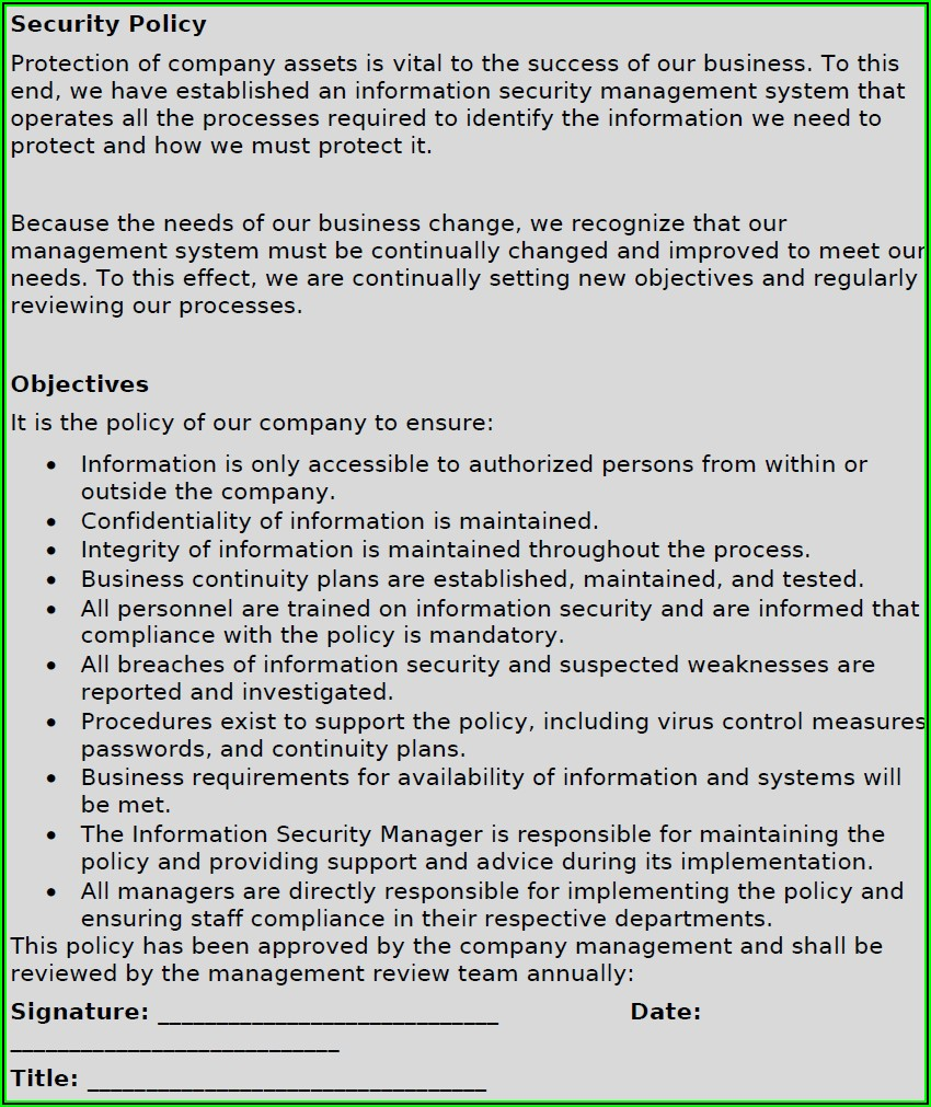 Iso 27001 Access Control Policy Examples