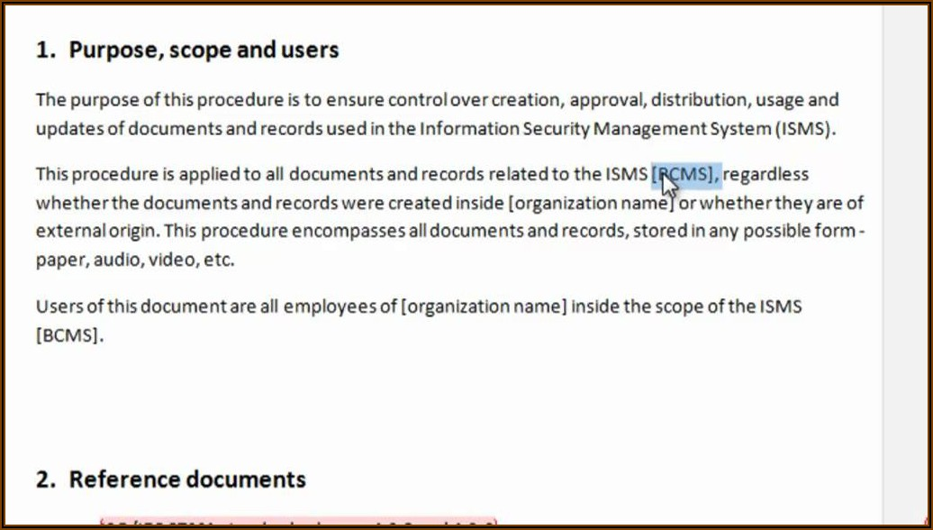 Iso 27001 Document Template