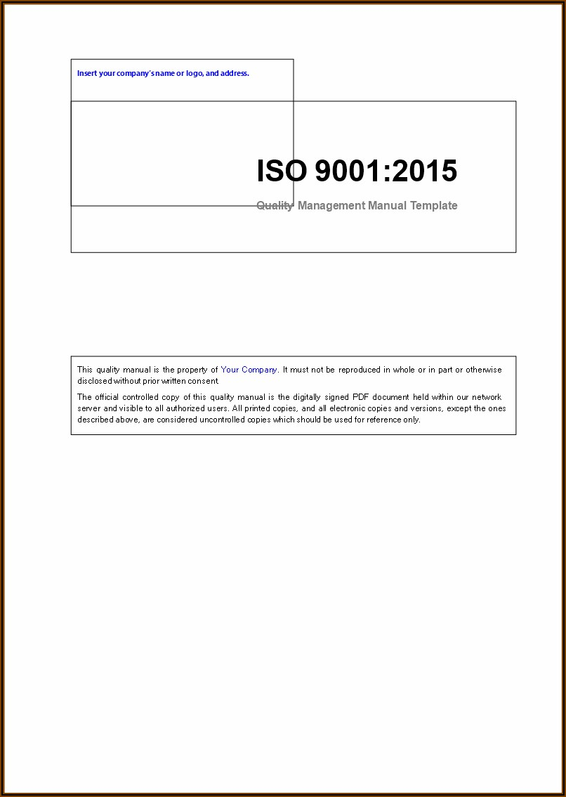 Iso 9001 Quality Manual 2015 Sample
