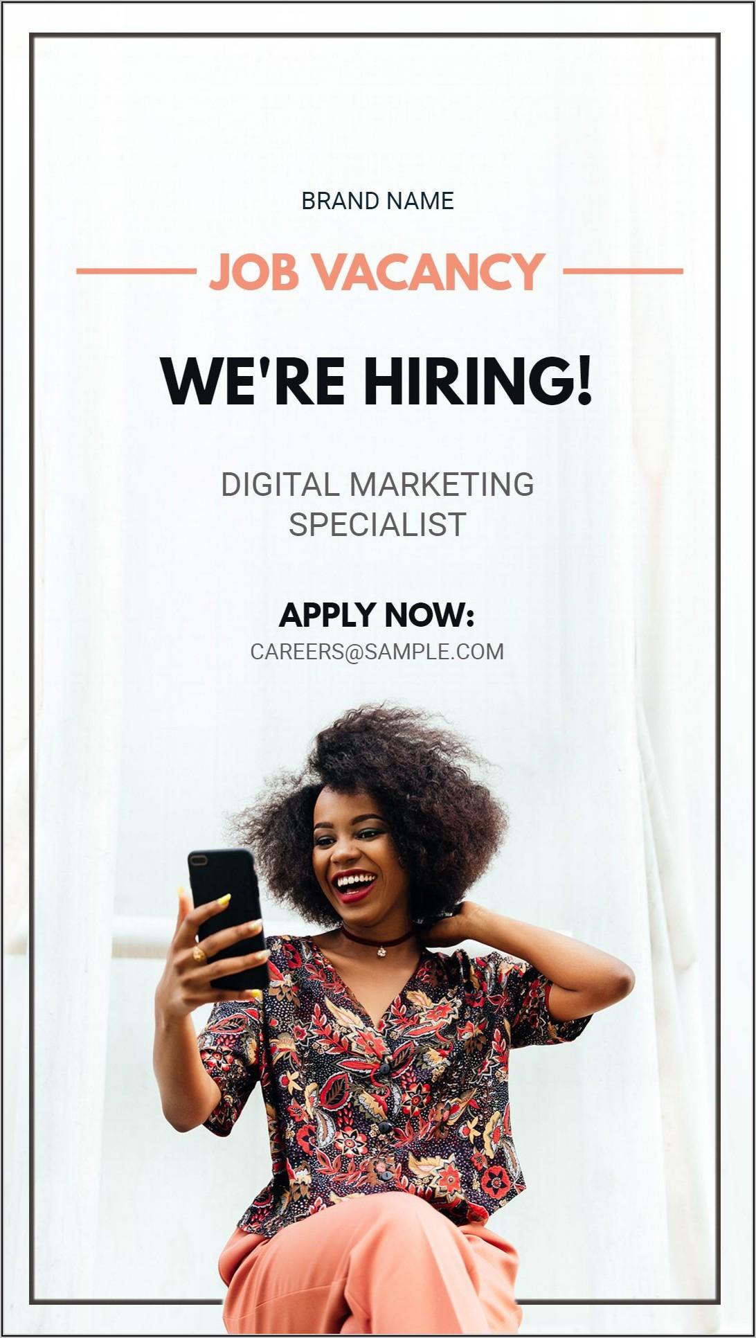 Job Vacancy Advert Template