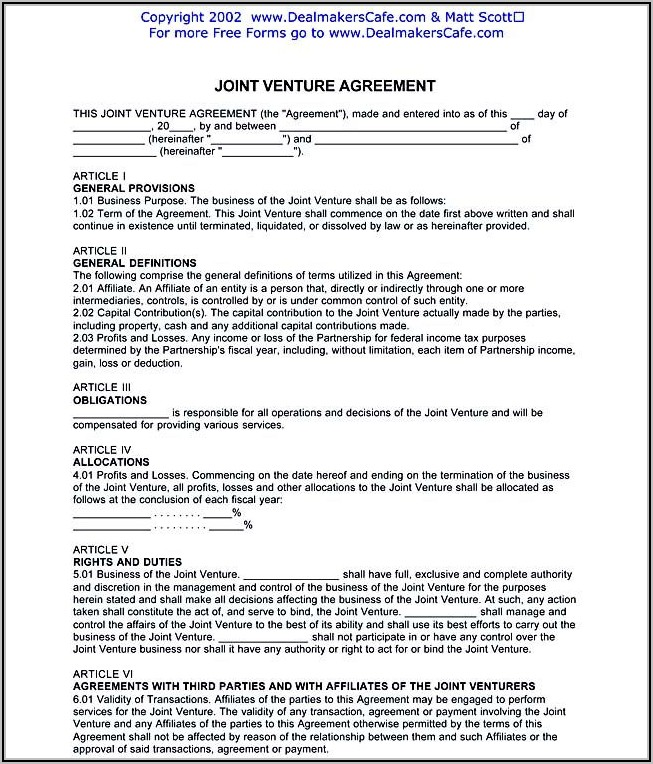 Joint Venture Agreement Template Australia Free