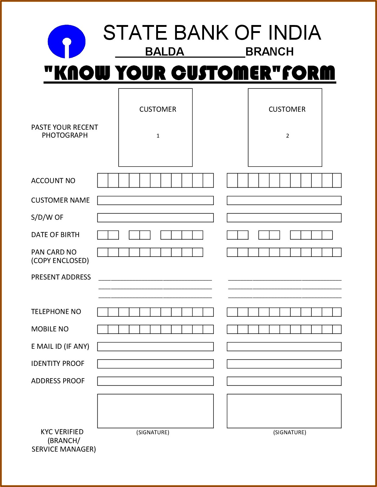 Know Your Client (kyc) Application Form Sbi
