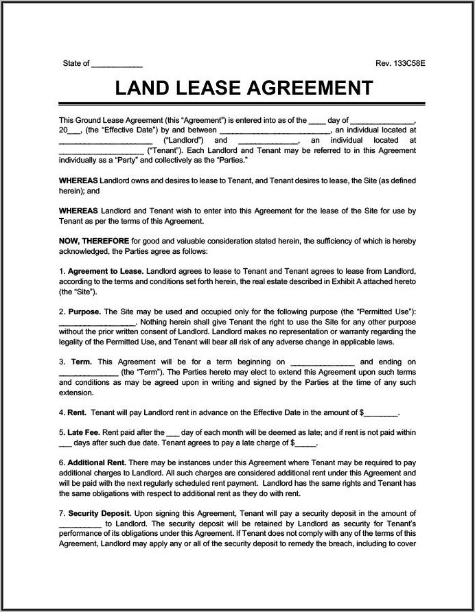 Land Rental Contract Template