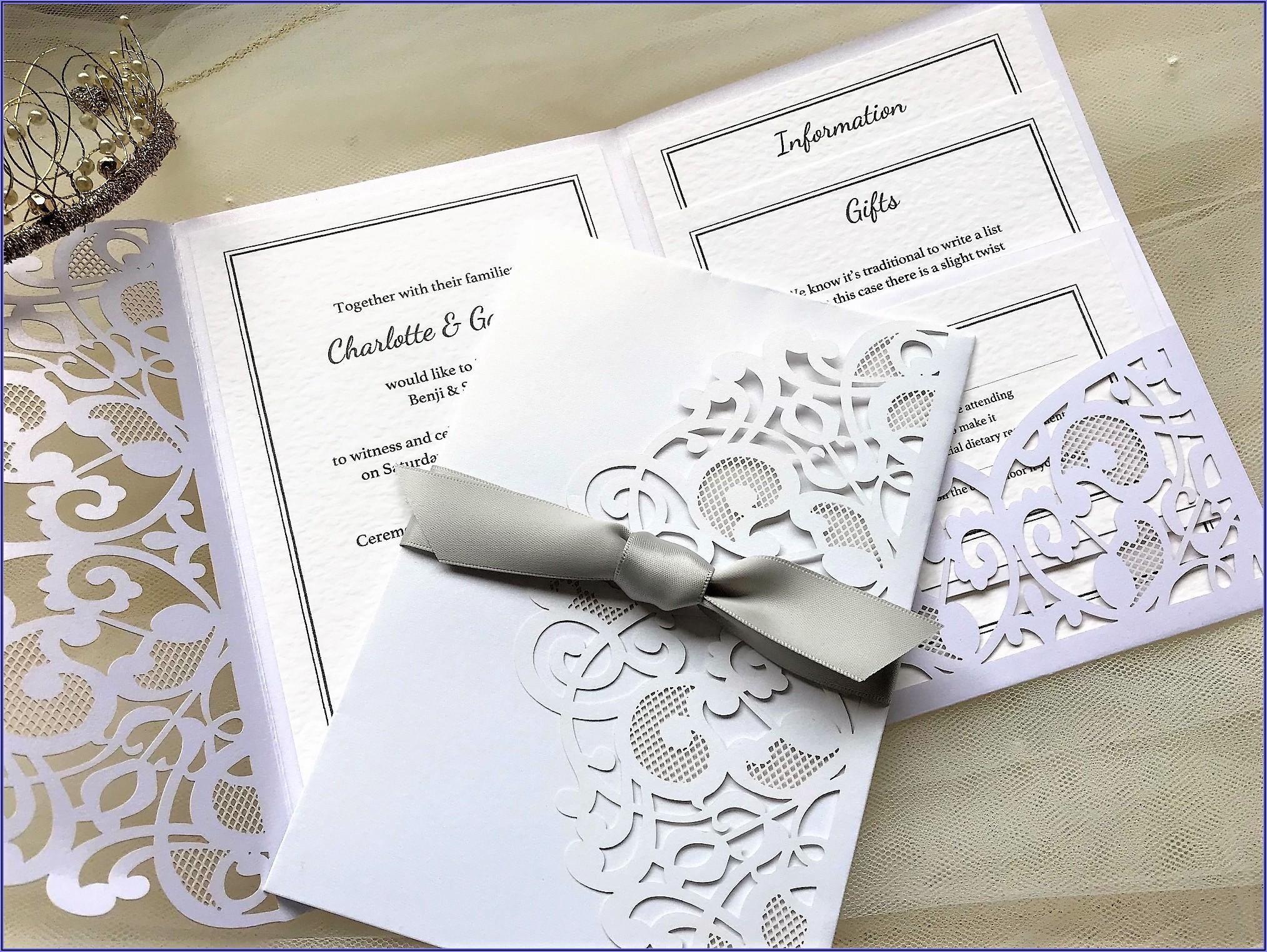 Laser Cut Pocket Fold Wedding Invitations Uk