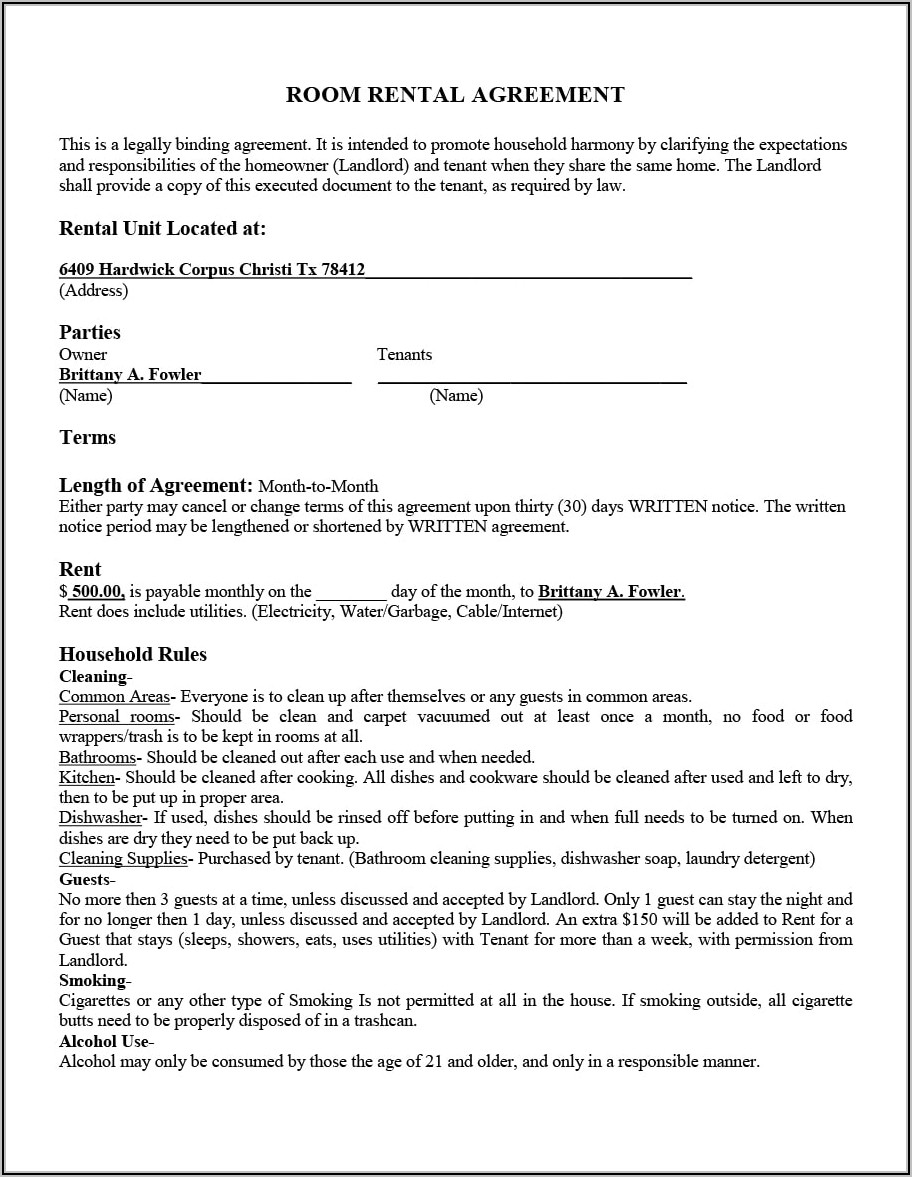 Lease Agreement Between Landlord And Tenant Template