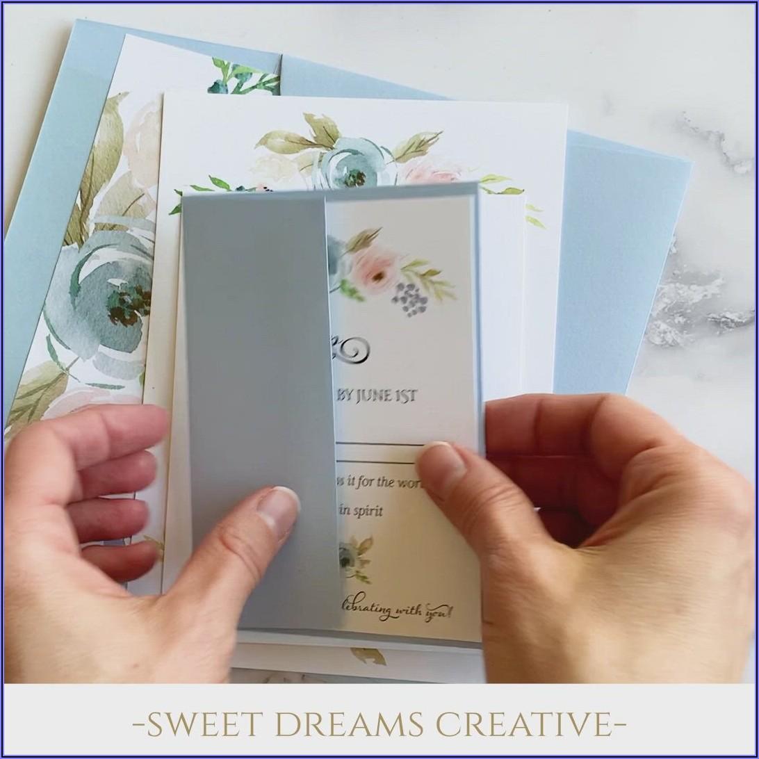 Light Blue And Blush Wedding Invitations