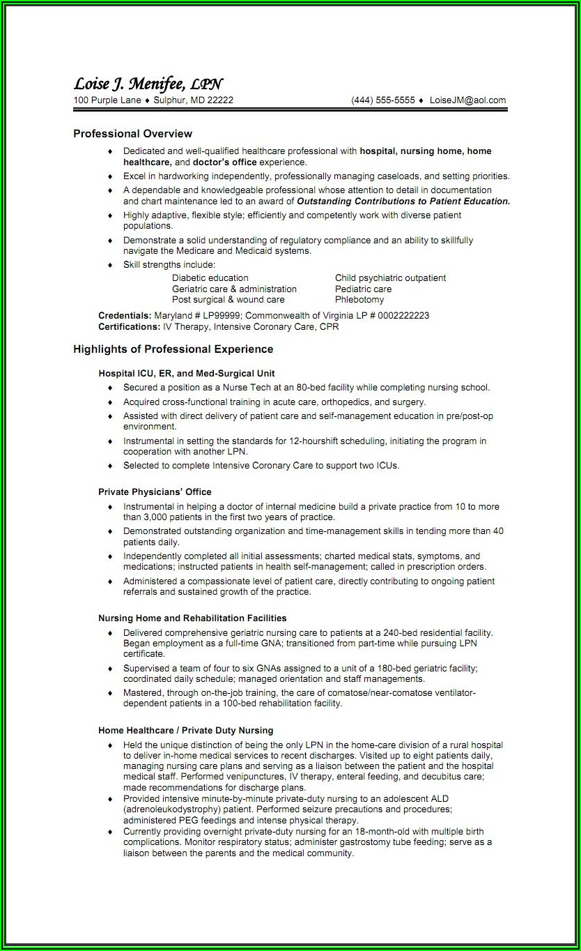 Lvn Resume Sample With Experience
