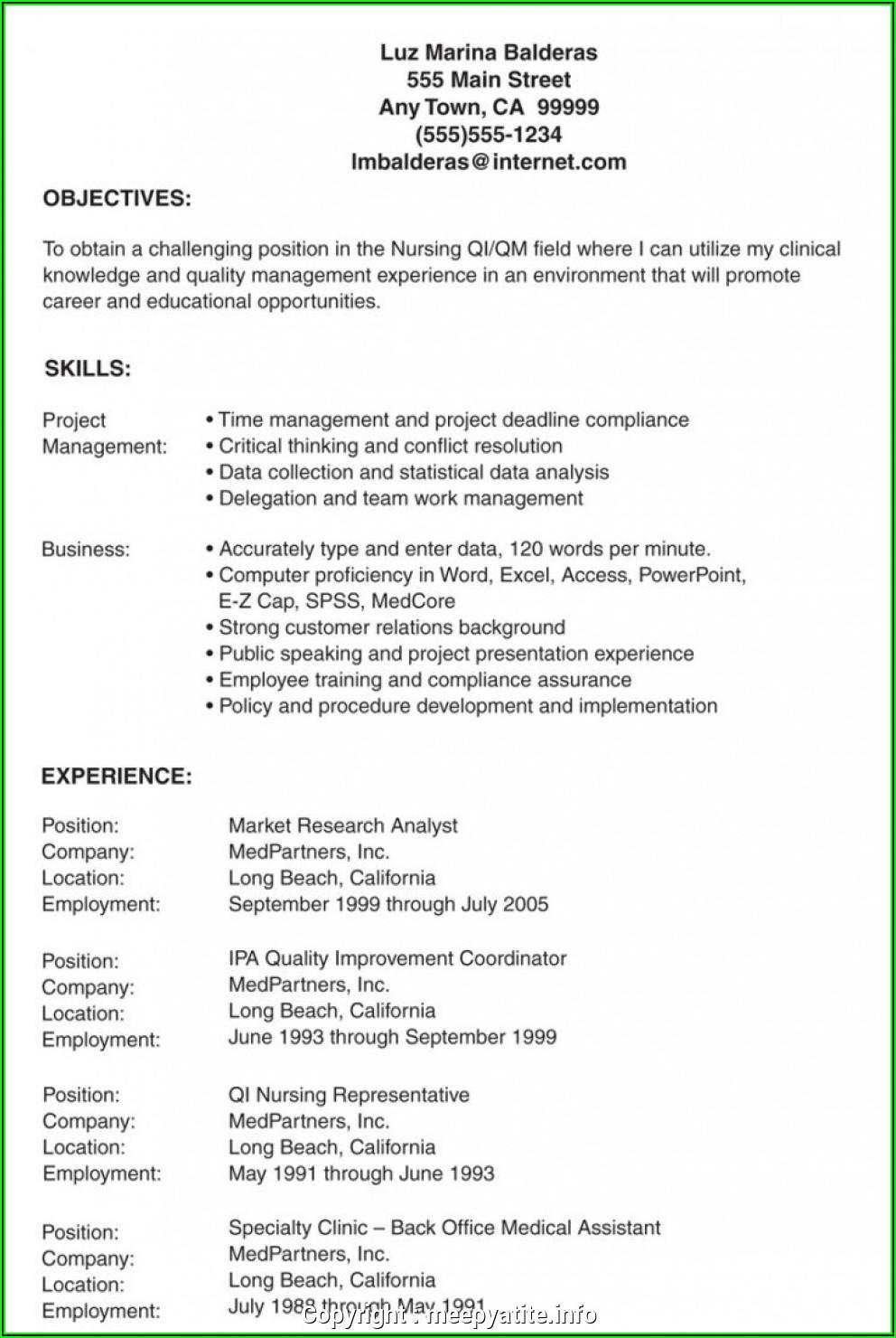 Lvn Resume Sample
