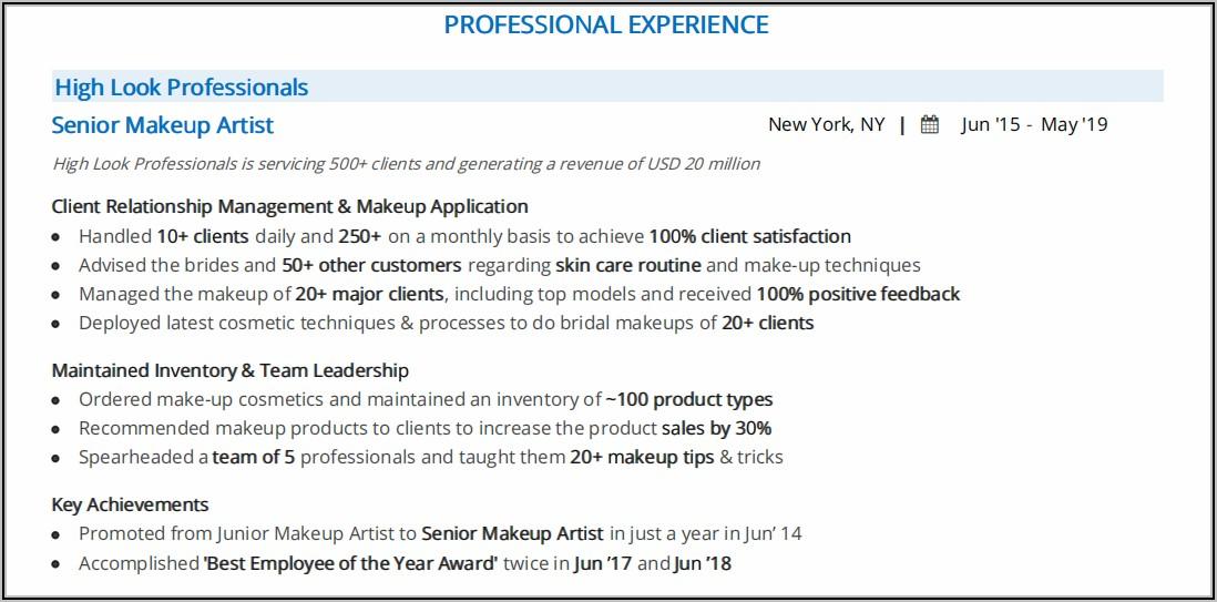 Makeup Artist Resume Examples