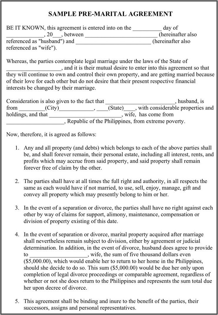 Marriage Separation Agreement Template Philippines