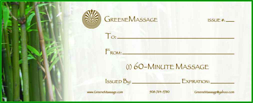 Massage Gift Certificates Templates Free