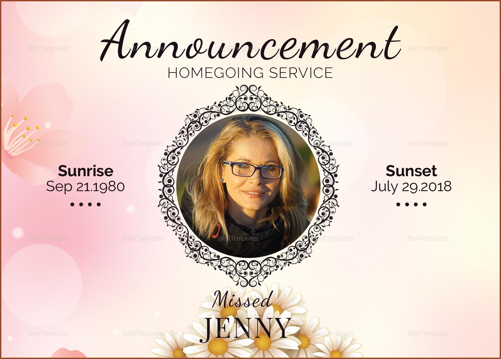 Microsoft Word Funeral Announcement Template
