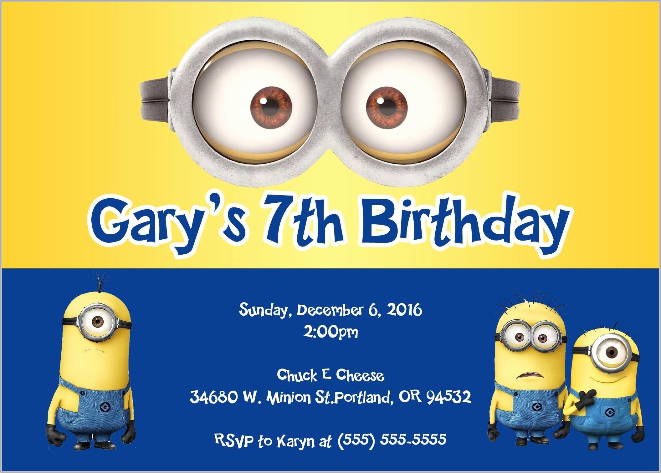 Minions Birthday Party Invitations Templates