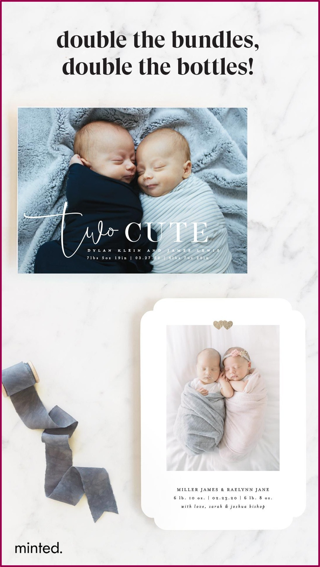 Minted Twin Birth Announcement