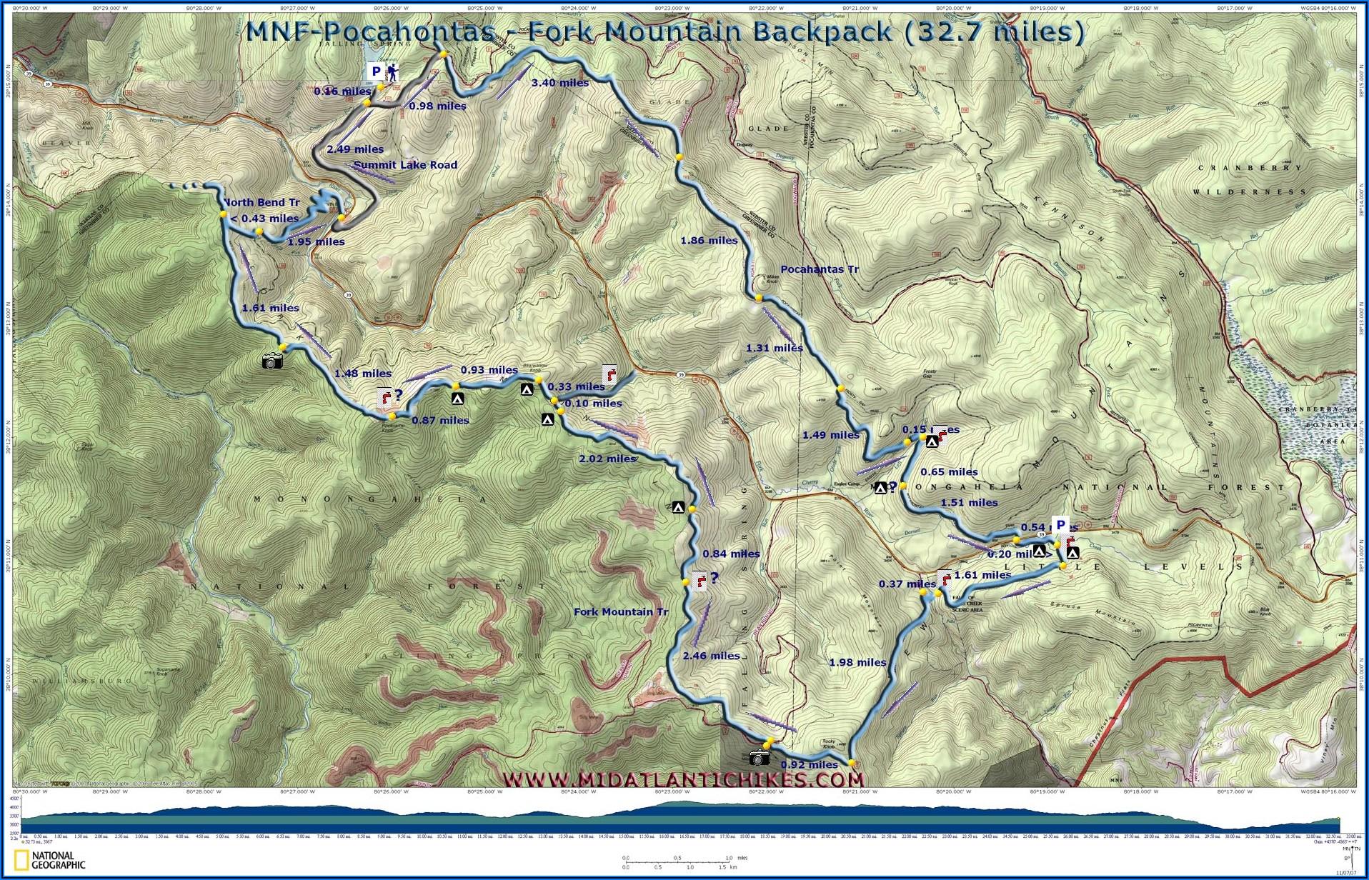 Monongahela National Forest Trail Map