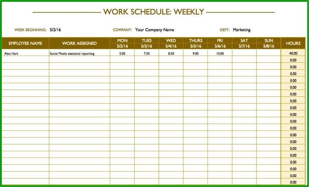 Monthly Work Schedule Excel