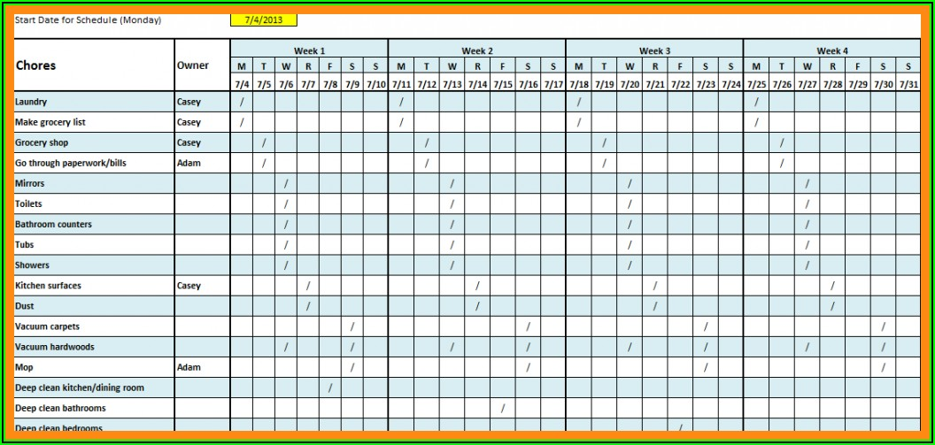 Monthly Work Schedule Template 2020