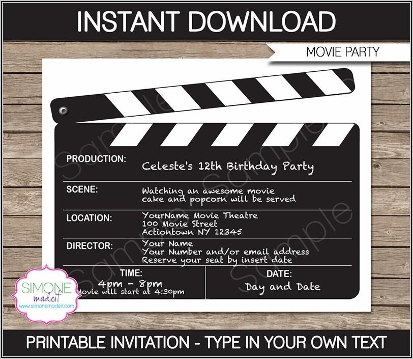 Movie Invitation Template Free