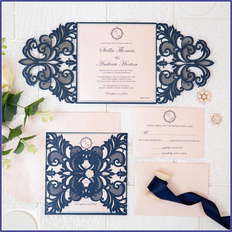 Navy And Blush Laser Cut Wedding Invitations