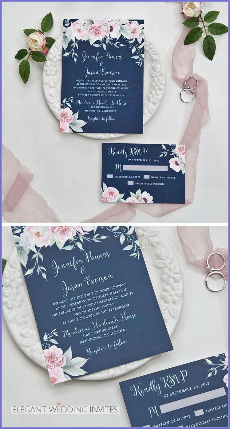 Navy And Blush Pink Wedding Invitations
