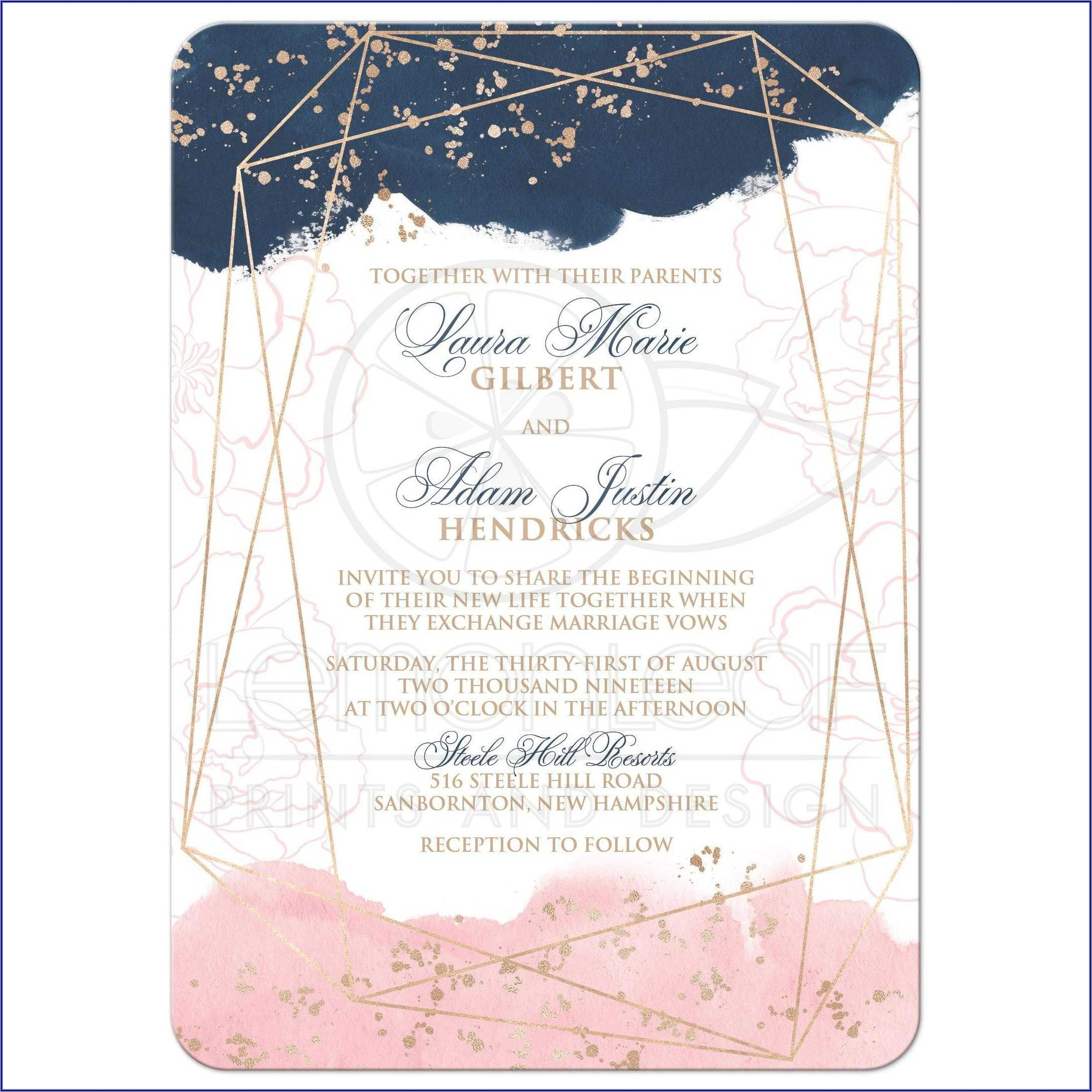 Navy And Pink Wedding Invitation Templates