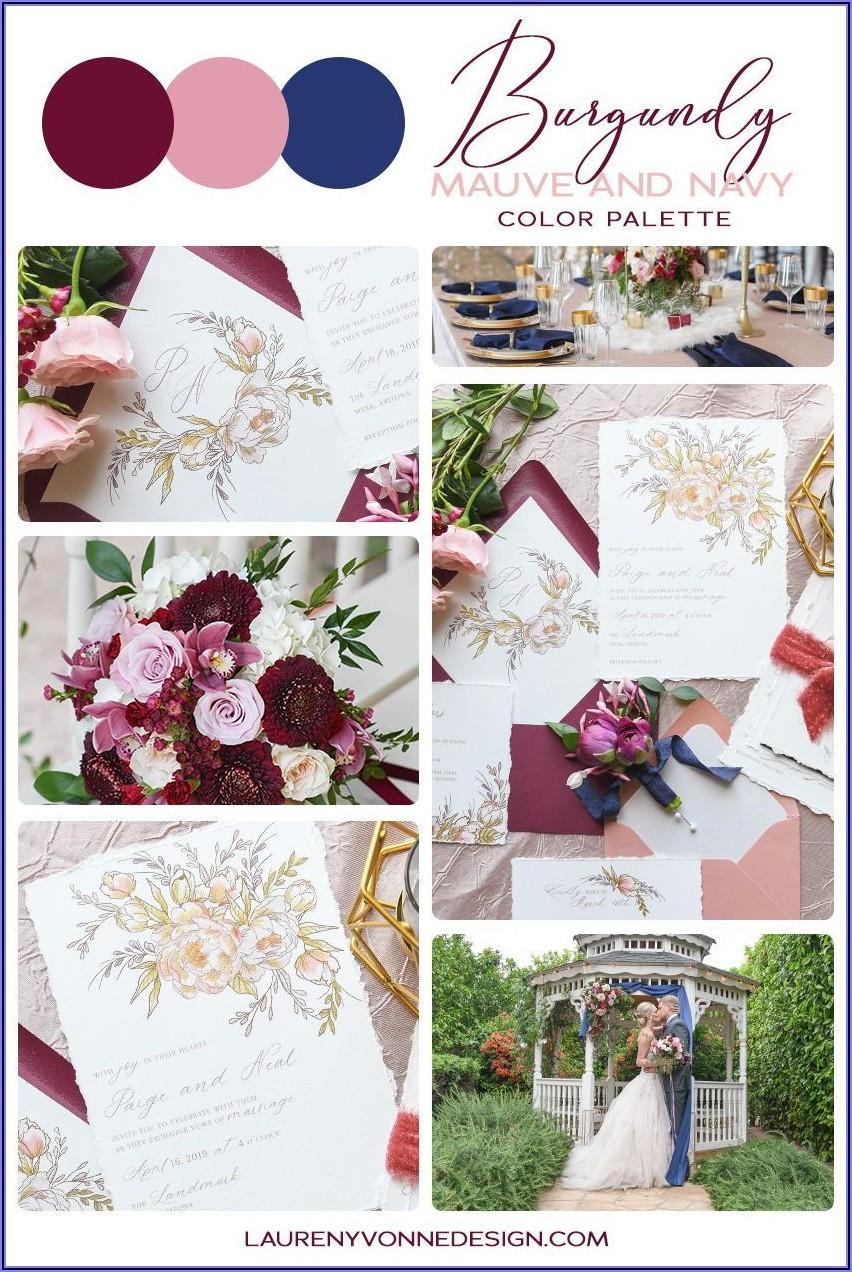 Navy Blue And Mauve Wedding Invitations