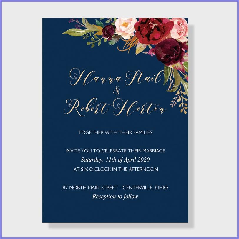 Navy Blue Burgundy And Blush Wedding Invitations
