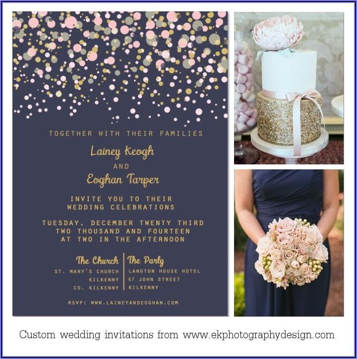 Navy Blush And Gold Wedding Invitations