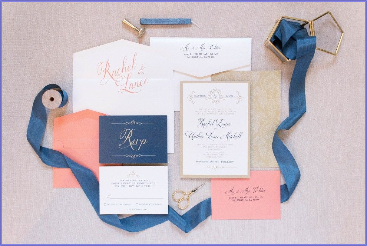 Navy Coral And Gold Wedding Invitations