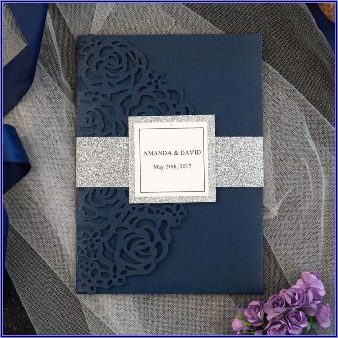 Navy Laser Cut Wedding Invitations Uk