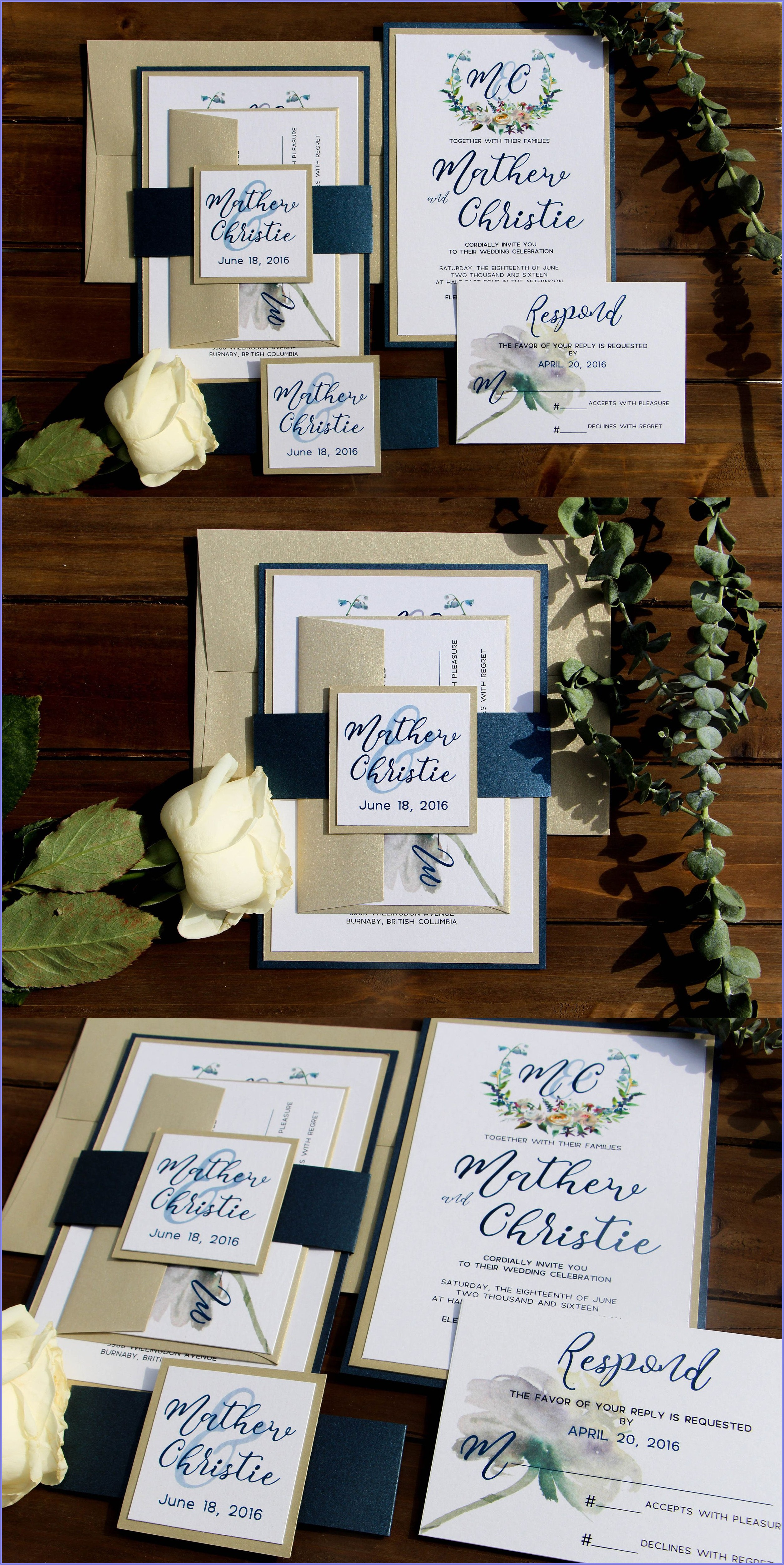 Navy White And Gold Wedding Invitations