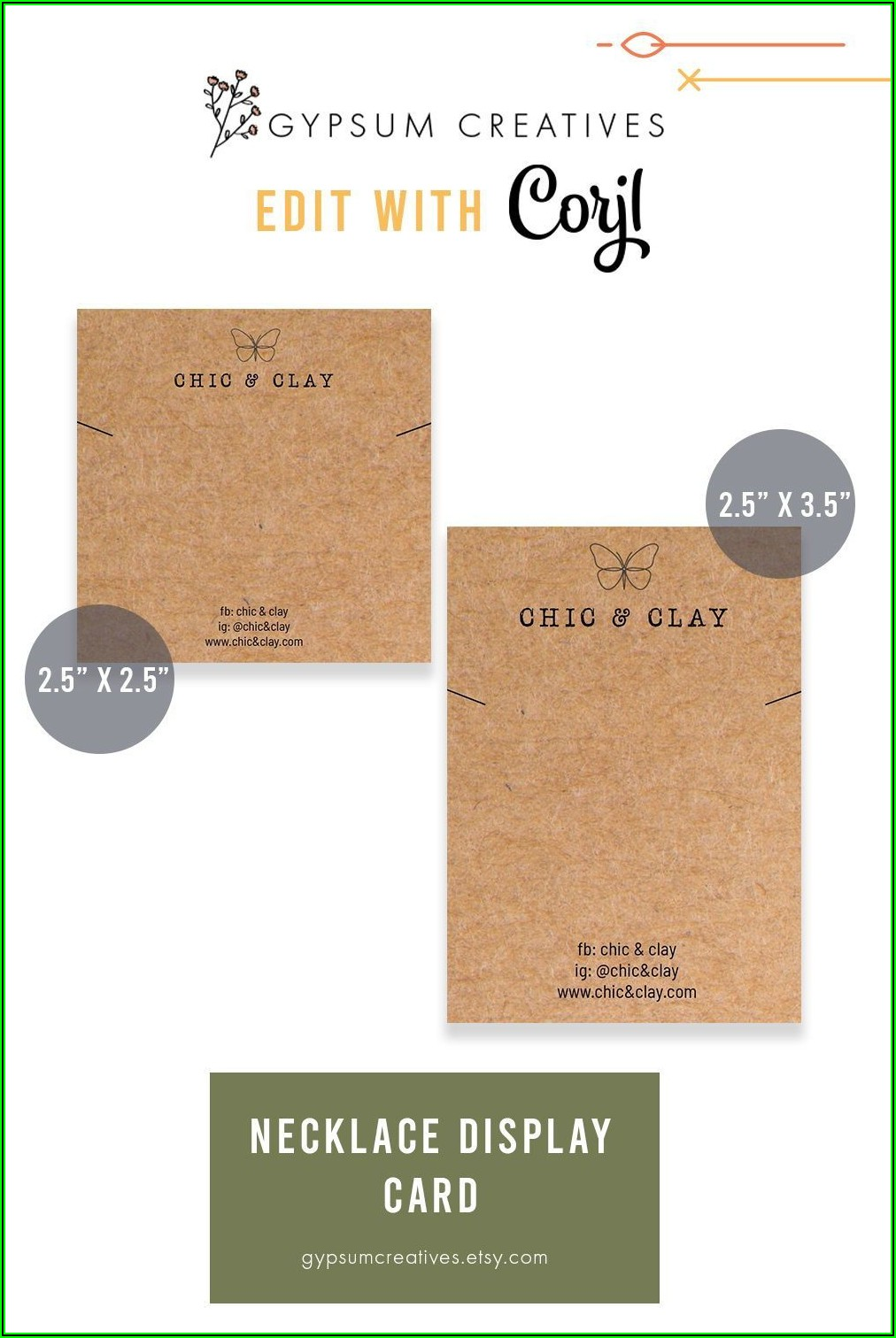Necklace Display Card Template